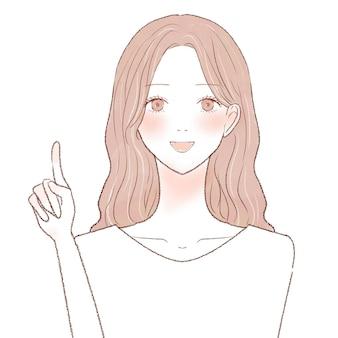 指を指さしながら説明する女性。白い背景に。
