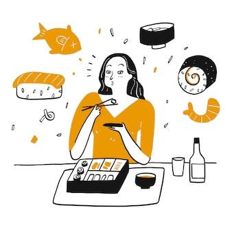 Женщина с удовольствием ест суши