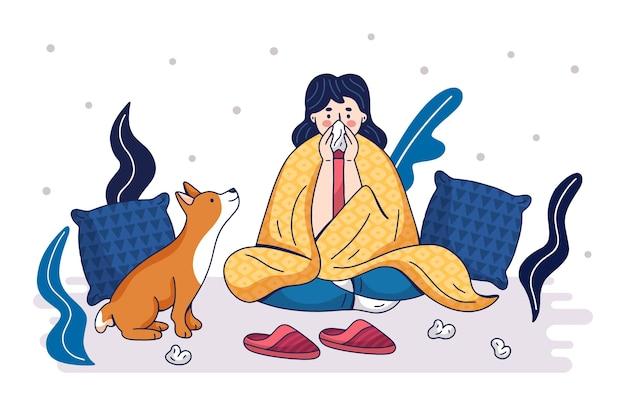 風邪を引いて家にいる女性
