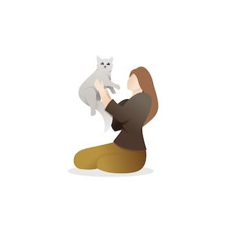 Женщина, держащая милый кот