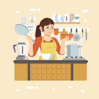 부엌에서 앞치마를 입고 그릇과 프라이팬을 들고 여자는 요리 교실 그림에서 요리를 가르칩니다. 포스터, 웹 이미지 및 기타에 사용