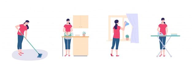 Женщина-домохозяйка моет посуду