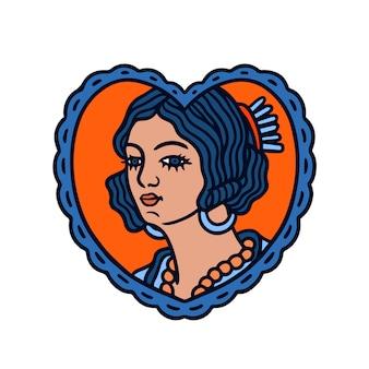 愛の形をしたフレームの古い学校の入れ墨の女性