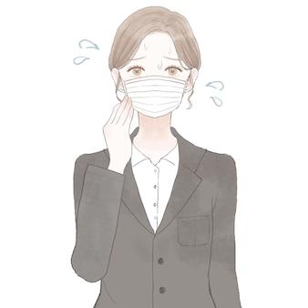 マスクを着用して蒸しに苦しんでいるスーツを着た女性。白い背景に。
