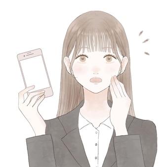 Женщина в костюме, удивленная своим смартфоном. на белом фоне.