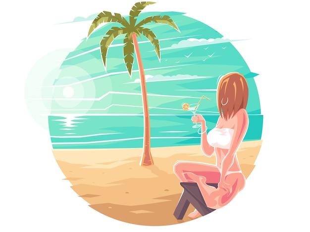 海や海のビーチのサンラウンジャーに座って水着姿の女性がライトアップ。美しい少女がヤシの木の下でカクテルを飲みます。夏または贅沢な休暇。ビーチのヤシの木の下でザカド。