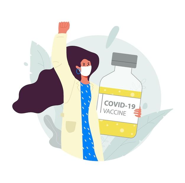 의료용 마스크를 쓴 한 여성이 코비드-19 바이러스에 대한 백신이 든 병을 들고 있습니다. 그녀는 항의와 투쟁에 그녀의 손을 들었다.