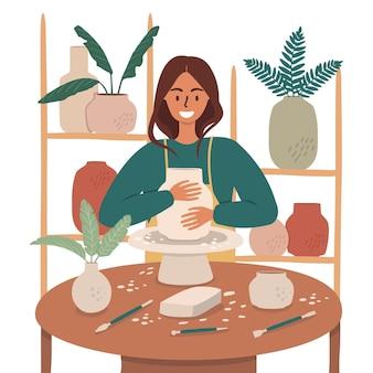 한 여성이 도자기에 종사하고 있습니다. 녹로의 작업과 세라믹 오브제 제작.