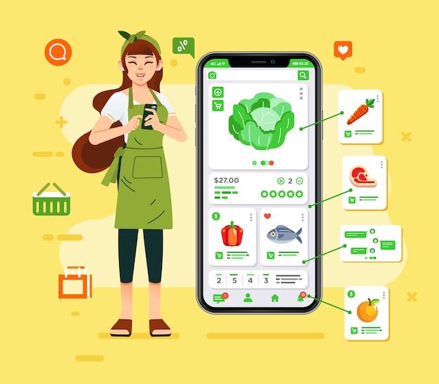 한 여성이 스마트 폰으로 식료품 온라인 쇼핑을하고 신선한 음식을 선택하고 집으로 배달합니다. 포스터, 그래픽, 웹 이미지 및 기타에 사용
