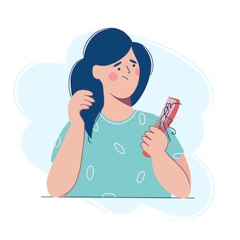 女性は髪の毛の束で櫛を持っていますが、脱毛のために動揺しています。フラットなデザインスタイルのイラスト。