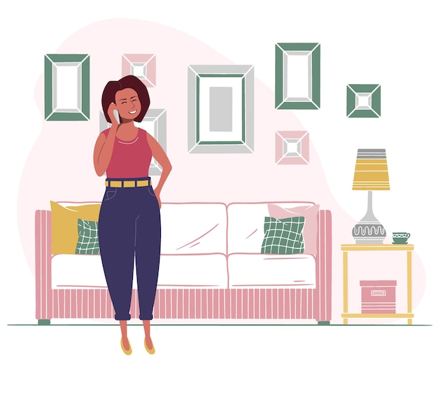 インテリア家具を背景に女性が電話で話している。フラットスタイルのイラスト。