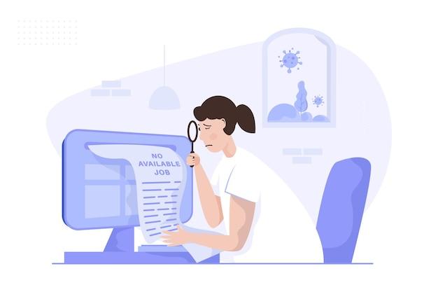취업 휴가 온라인 일러스트레이션을 찾는 여성