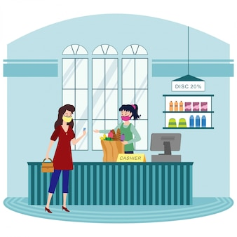 食料品店のレジで商品を支払う女性
