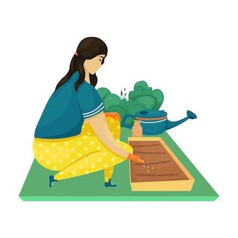 한 여자가 땅에 씨앗을 심고 묘목을 심습니다. 심기, 재배 야채.