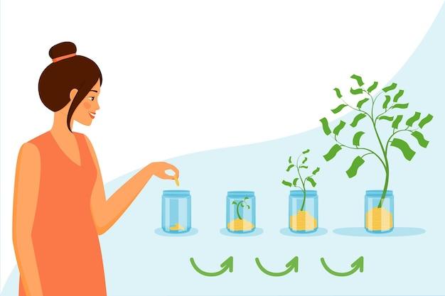 여자가 항아리에 동전을 넣으면 돈나무가 자랍니다.
