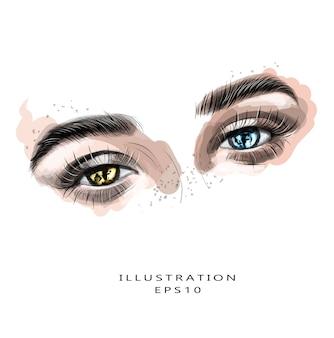 さまざまな色の美しい目を持つ女性の顔