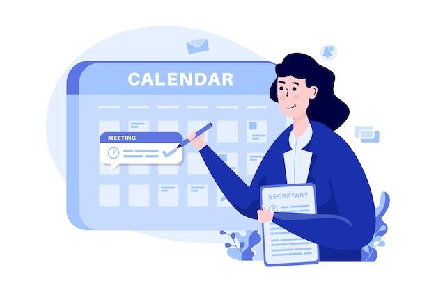 女性が予定会議のイラストのコンセプトをスケジュールします。