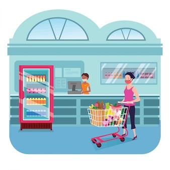 デパートイラストで買い物をする女性