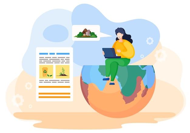 한 여성이 노트북을 들고 지구의 절반에 앉아 지구의 생태 상황에 대한 프레젠테이션을 읽습니다. 환경과 지구를 돌보고 오염을 막고 자연을 보호합니다