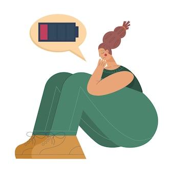 배터리가 방전된 상태로 앉아 있는 여성 피곤한 여성이 정서적 소진이나 정신 장애 상태에 있습니다