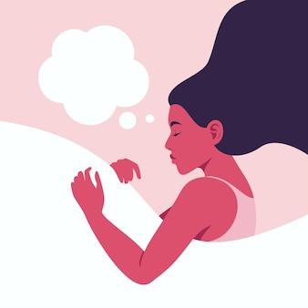 Женщина спит и видит сон в облаке