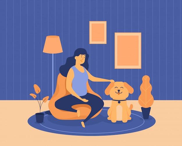 検疫フラットイラスト青とオレンジのベースカラー中にかわいい犬と楽しく遊んでいる女性
