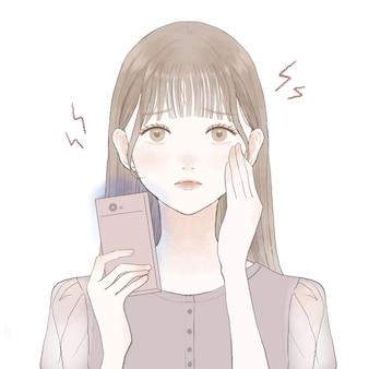 スマートフォンの青い光による眼精疲労と視力喪失に苦しんでいる女性。白い背景に。