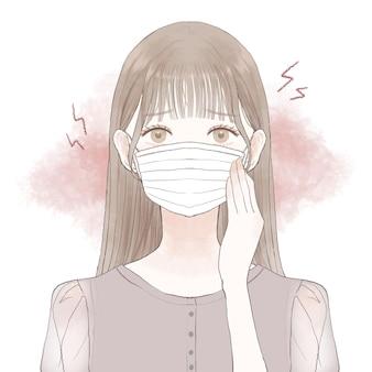 マスクを着用することによって引き起こされる摩擦と炎症に苦しんでいる女性。白い背景に。
