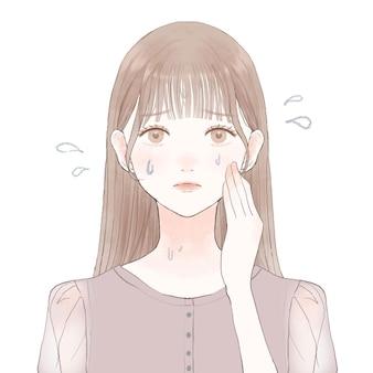 過汗症に苦しんでいる女性。白い背景に。キュートでシンプルなアートスタイル。