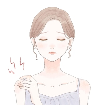 어깨 결림으로 고생하는 여성. 흰색 배경에. 귀엽고 심플한 아트 스타일.