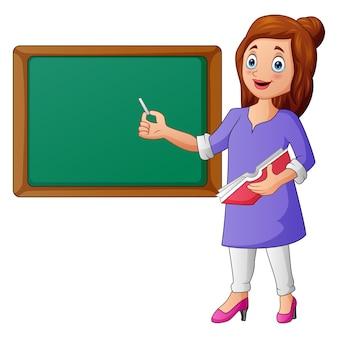 Учительница с указателем и классной доской