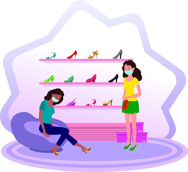 Женщина примеряет высокие каблуки в магазине женской обуви