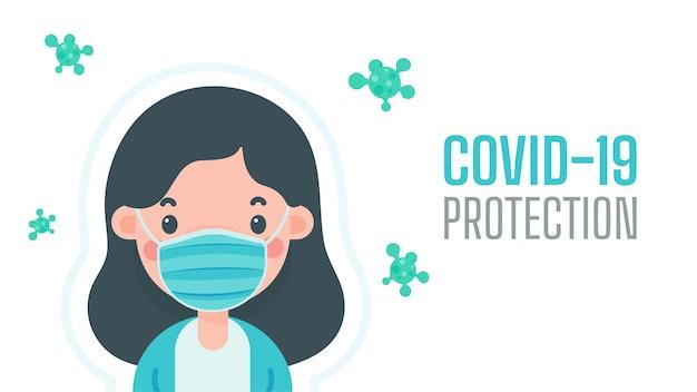 ウイルスから身を守るためにマスクをかぶった女性マスクの概念はウイルスからの盾です。