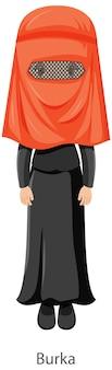 부르카 이슬람 전통 베일 만화 캐릭터를 입고 여자