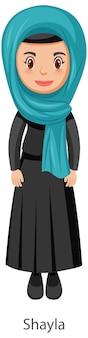 Shayla 이슬람 전통 베일 만화 캐릭터를 입고 여자