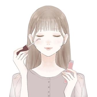 まつげにまつげ美容液を塗って育った女性。白い背景に。