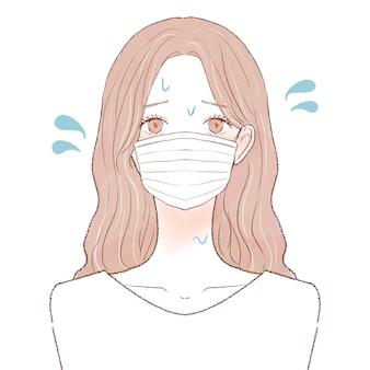마스크 착용으로 인해 김이 나는 여성. 흰색 배경에.
