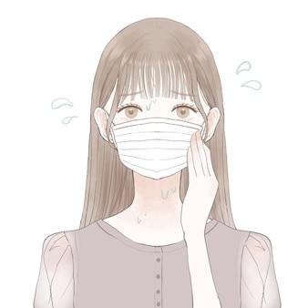 マスクを着用して蒸しに苦しむ女性。白い背景に。