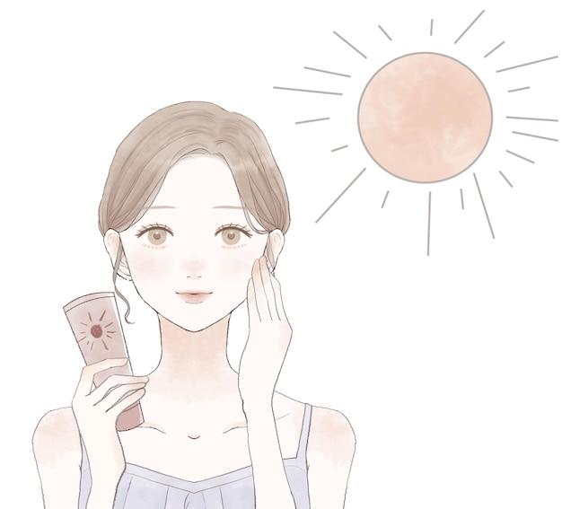 자외선 차단을 위해 자외선 차단제를 바르는 여성. 흰색 배경에.