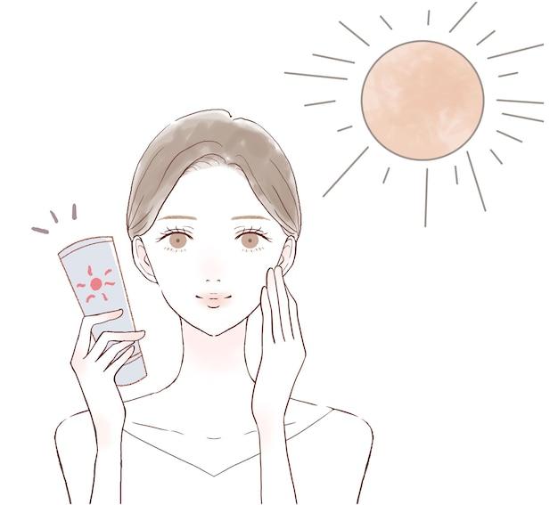 日焼け止めを使って紫外線と戦う女性。白い背景に。