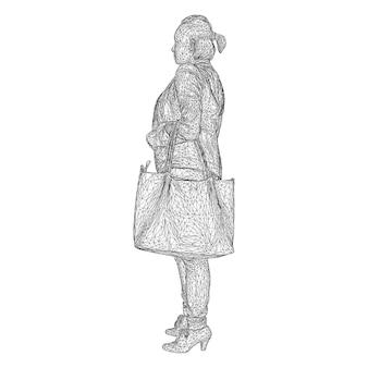 曲がった手に鞄を持った女性。白い背景の上の黒い三角形メッシュのイラスト
