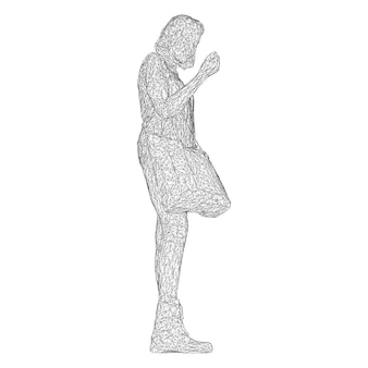 그녀의 구부러진 손에 가방을 든 여자. 흰색 바탕에 검은색 삼각형 메쉬의 벡터 그림.