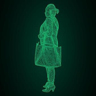그녀의 구부러진 손에 가방을 든 여자. 흑백 배경에 녹색 빛나는 삼각형 격자의 벡터 그림.