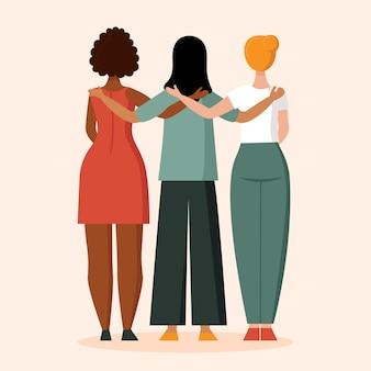 피부색이 다른 여성이 인종차별 반대 개념을 등지고 서 있다