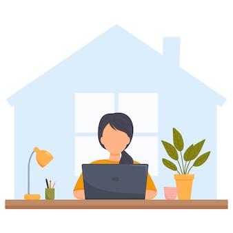 Женщина с ноутбуком учится или работает на дому. плоский стиль