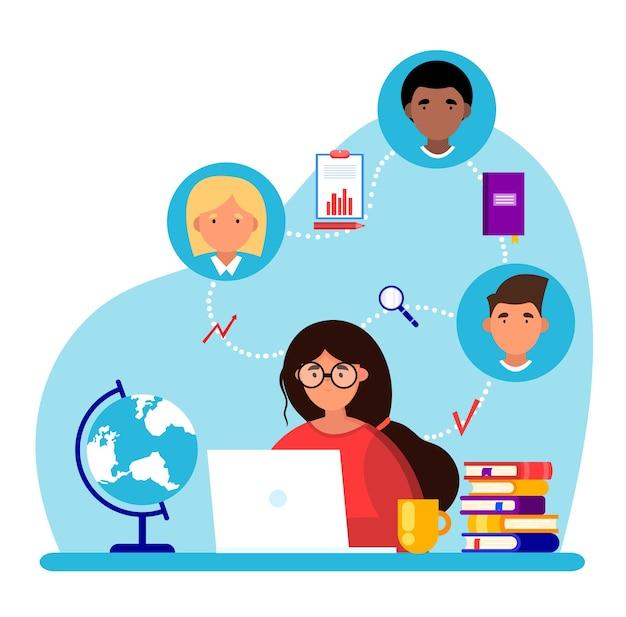 ノートパソコンを持った女性がテーブルに座っています。オンライン会議。リモートワークのコンセプト。ワーキングミーティング。教育の概念。同僚とのコミュニケーション