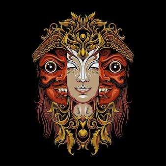 典型的なジャワのマスクを持つ女性