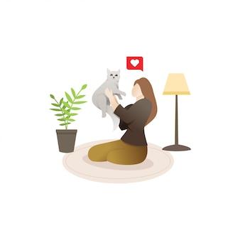 Женщина со своей кошкой