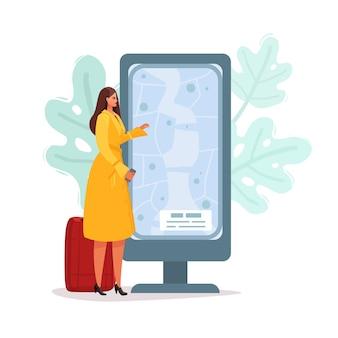 Возле информационного табло стоит женщина с багажом. плоский мультфильм иллюстрации