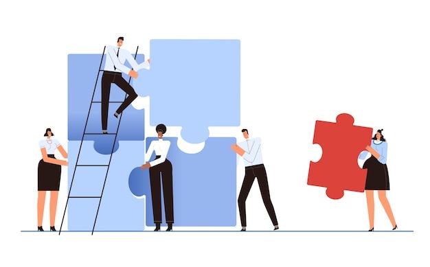 퍼즐의 잘못된 조각을 가진 여자. 성공적인 팀워크의 개념. 동료들은 직원을 거부합니다. 팀에서 벗어나십시오. 흰색 배경에 고립.